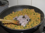 The cous cous stuffing cooking with squid tenticles