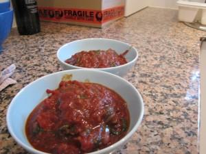 Roasted tomato snails