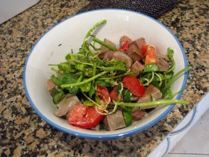 Cold Ox tongue salad