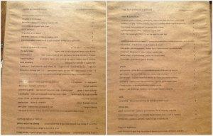 B&C drinks menu