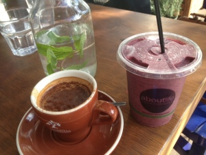 My drink haul- long black with cinnamon, water with mint and berry smoothie