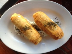 Spicy Lamb & Pinenut Borek with Tzatziki