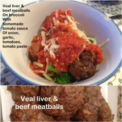 veal liver & beef meatballs