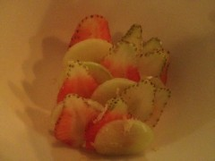 1.Savoury fruit salad, in ripe strawberries and peaches with sour cream and Myer lemon