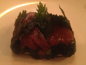 3.Steamed bass grouper fish with stinging nettle and burnt rye butter